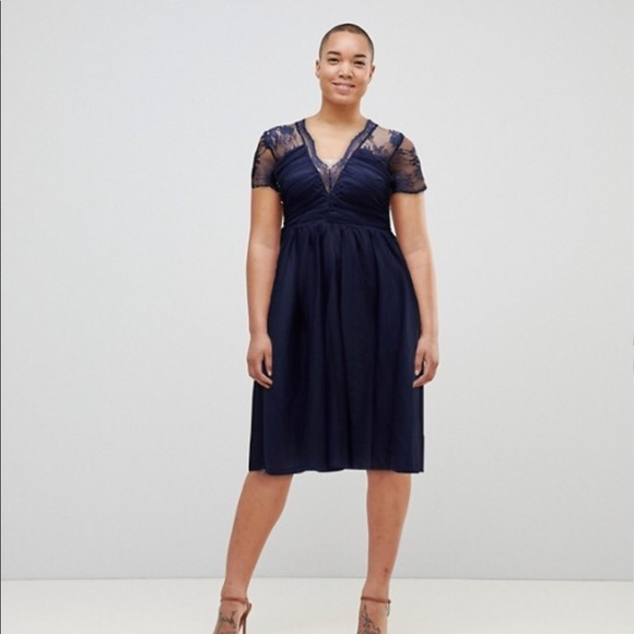be3f548ad6a ASOS Lace Top Midi Dress With Ruched Bodice